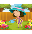 Girl watering flowers vector image vector image