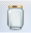 glass bottle closed by golden cap for sugar vector image vector image