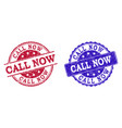 grunge scratched call now stamp seals vector image