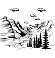 hand drawn landscape with mountains sketch vector image vector image