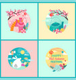 happy mid autumn festival set banner vector image vector image