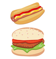 Hot dog and hamburger vector image