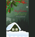 house in winter forest vector image vector image