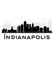 Indianapolis City skyline black and white silhouet vector image vector image