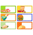 Label design with many kind of food vector image vector image