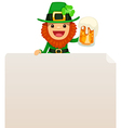 leprechaun looking at blank poster on top vector image vector image