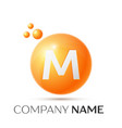 m letter splash orange dots and circle bubble vector image vector image