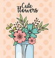 mason jar cute flowers decoration dotted vector image vector image