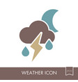 moon cloud rain lightning icon weather vector image