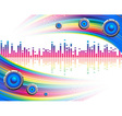 Musical background with a rainbow vector image vector image