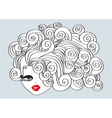 Nice girl with curly hair and red mouthvector illu