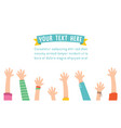 of kids raising hands for cele vector image vector image