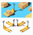 pallet truck storage equipment isometric icon set vector image