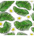 palm leaves and flowers seamless background vector image