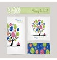 Postcards design with easter tree vector image vector image