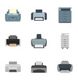 printer icon set flat style vector image