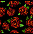 red rose embroidery on black background vector image