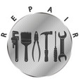 repair tool on a metal background symbol vector image vector image