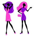 Retro girls silhouette isolated on white vector image vector image