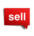 Sell red 3d realistic paper speech bubble isolated vector image vector image