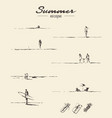 set drawn seaside view people beach sketch vector image vector image
