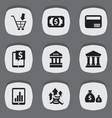 set of 9 editable finance icons includes symbols vector image vector image
