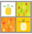 set of pineapples and two seamless patterns vector image vector image