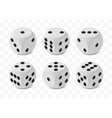 set six realistic isometric game dices with vector image