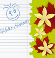 Sheet of school notebook with flowers vector image