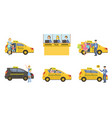 taxi service set taxi driver in yellow car and vector image vector image