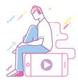 Teenage boy listening to music vector image vector image