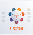 template flower colorful infographics 7 positions vector image