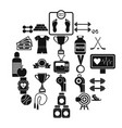 tussle icons set simple style vector image