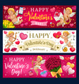valentines day hearts flowers and cupids vector image vector image