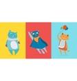 Three flat cute cats vector image