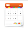 Calendar 2015 April vector image
