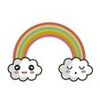 icon rainbow cloud faces design vector image