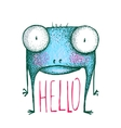 Monster with greeting text hello vector image