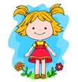 A little girl standing in flowers vector image