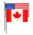 american and canadian flags vector image vector image