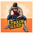 Bodybuilder doing exercise with dumbbells for vector image