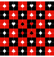 Card Suits Red Black Chess Board Background vector image vector image