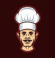 chef head in hat cartoon style vector image vector image