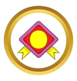 Color badge with yellow ribbons icon vector image