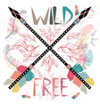 colorful with crossed ethnic arrows feathers and vector image vector image