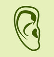 ear icon in flat style isolated on color vector image vector image