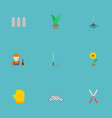 flat icons grower fence cutter and other vector image vector image