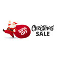 funny cartoon santa claus with huge red bag vector image