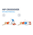 girl doing hip or knee roll exercise with fitness vector image vector image