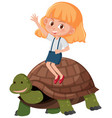 girl riding a turtle vector image